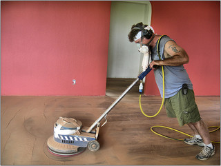 sanding wooden floors